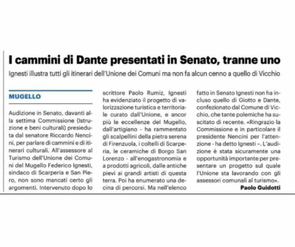 Officina19 interviene dopo l'audizione in Senato sui cammini di Dante