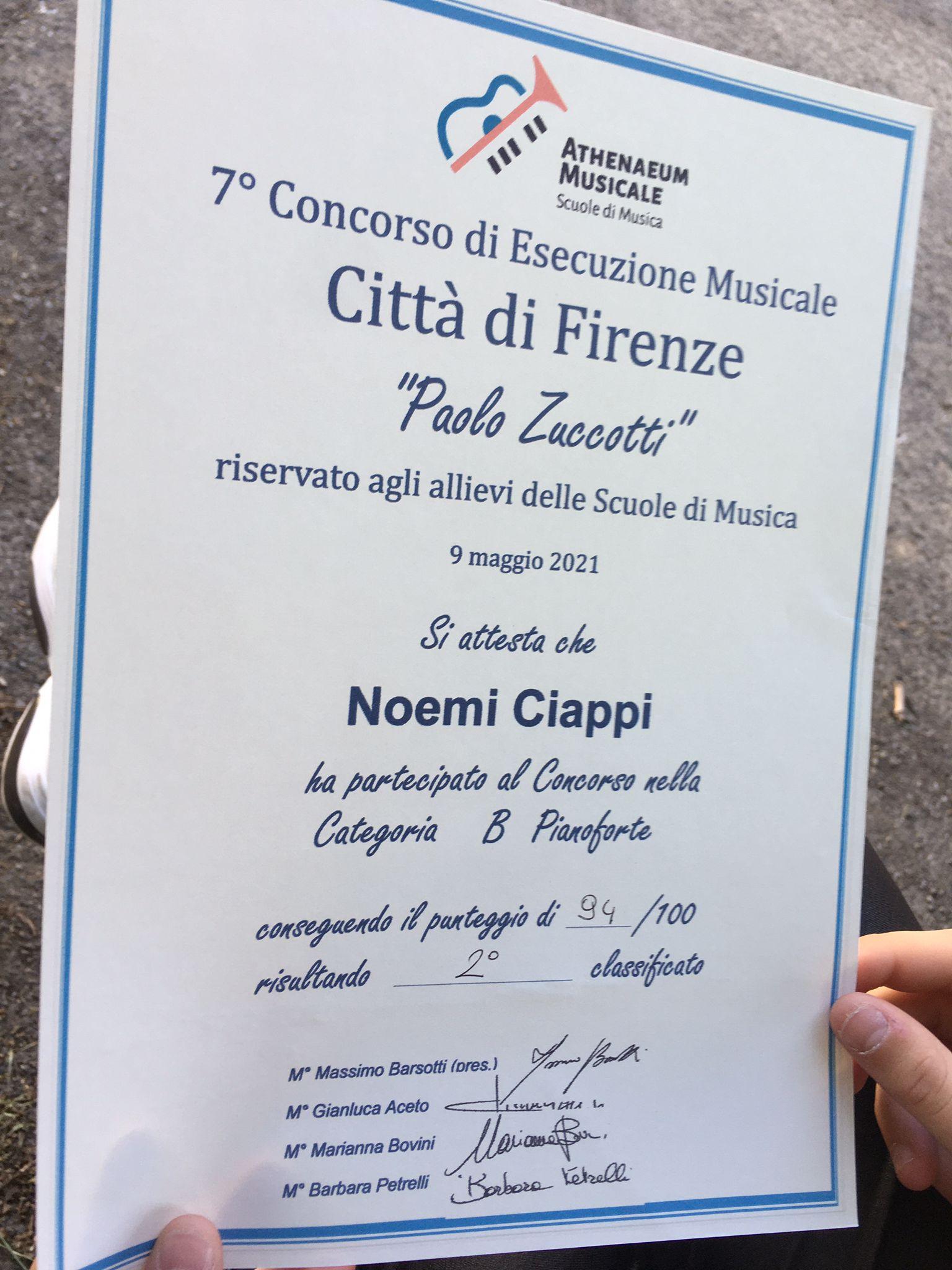 Attestato di Noemi Ciappi