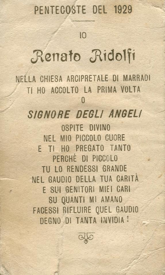Pentecoste del 1929 prima Comunione
