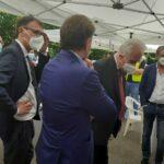 Il consigliere Massimiliano Pescini con il direttore Morello e il presidente Giani