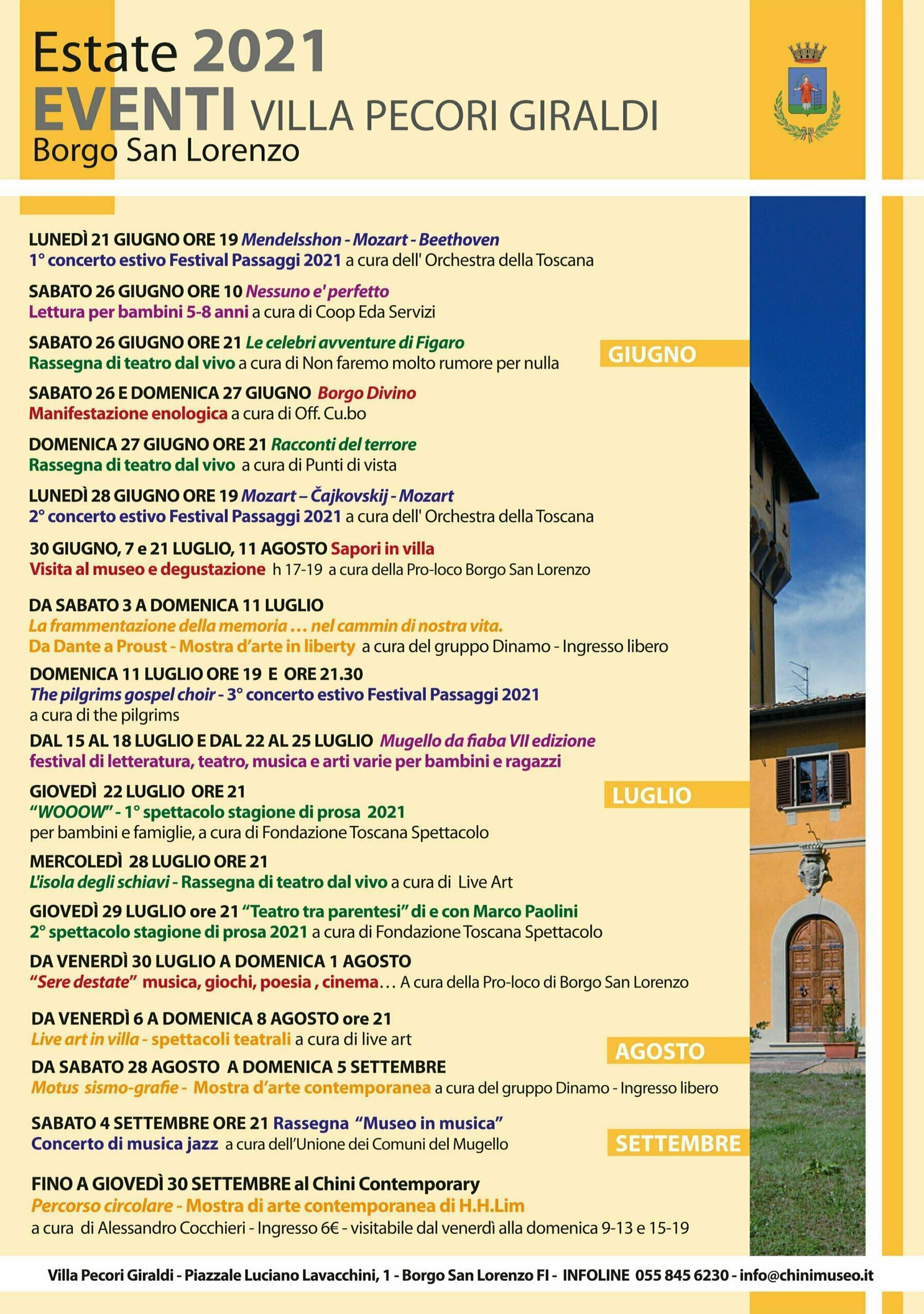 Eventi Villa Pecori 2021