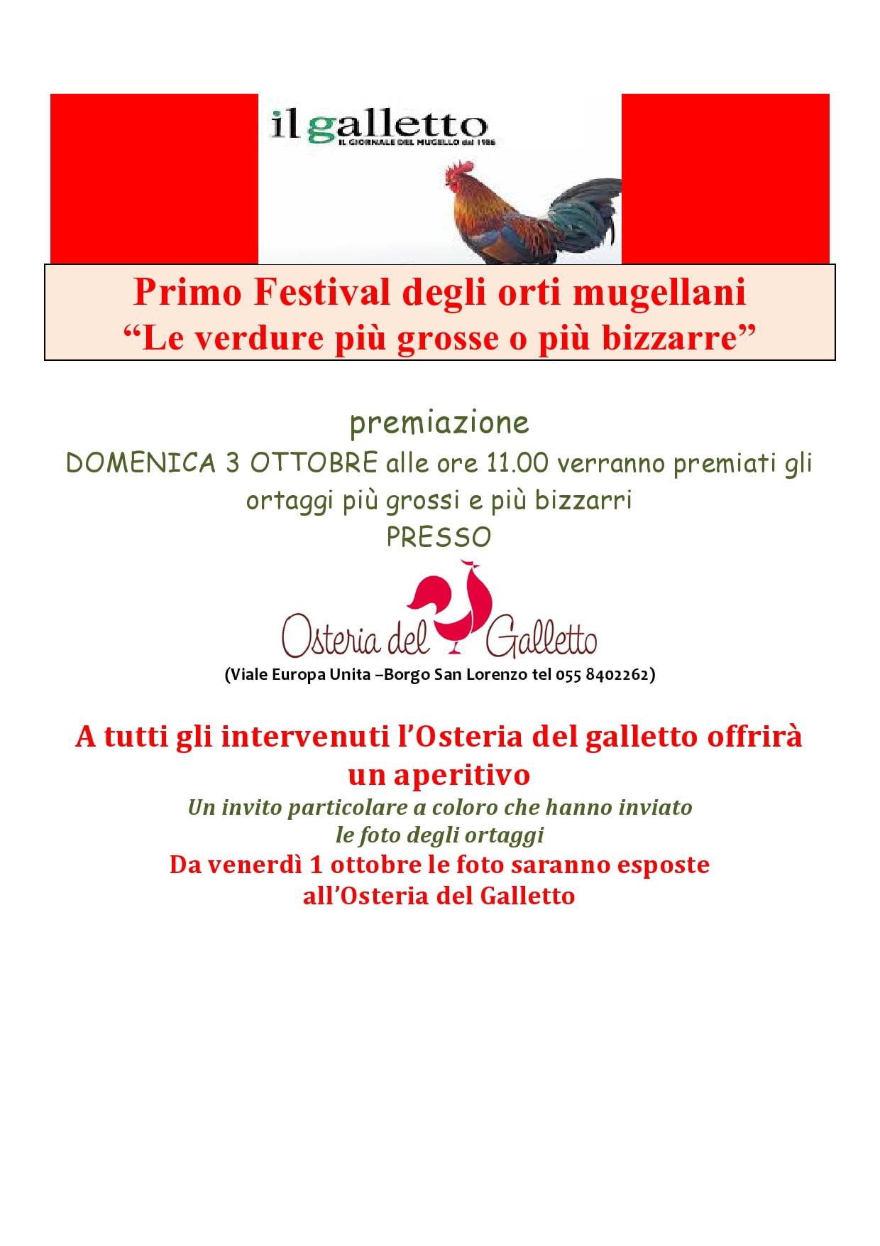 Premiazione Primo Festival Ortaggi mugellani