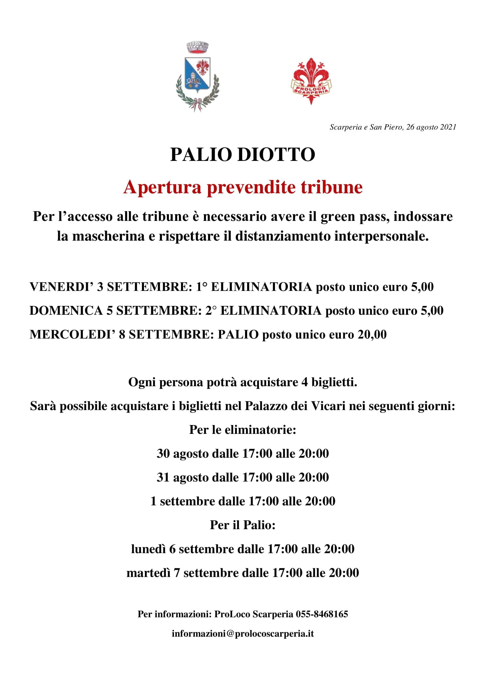 Prevendite tribune Diotto