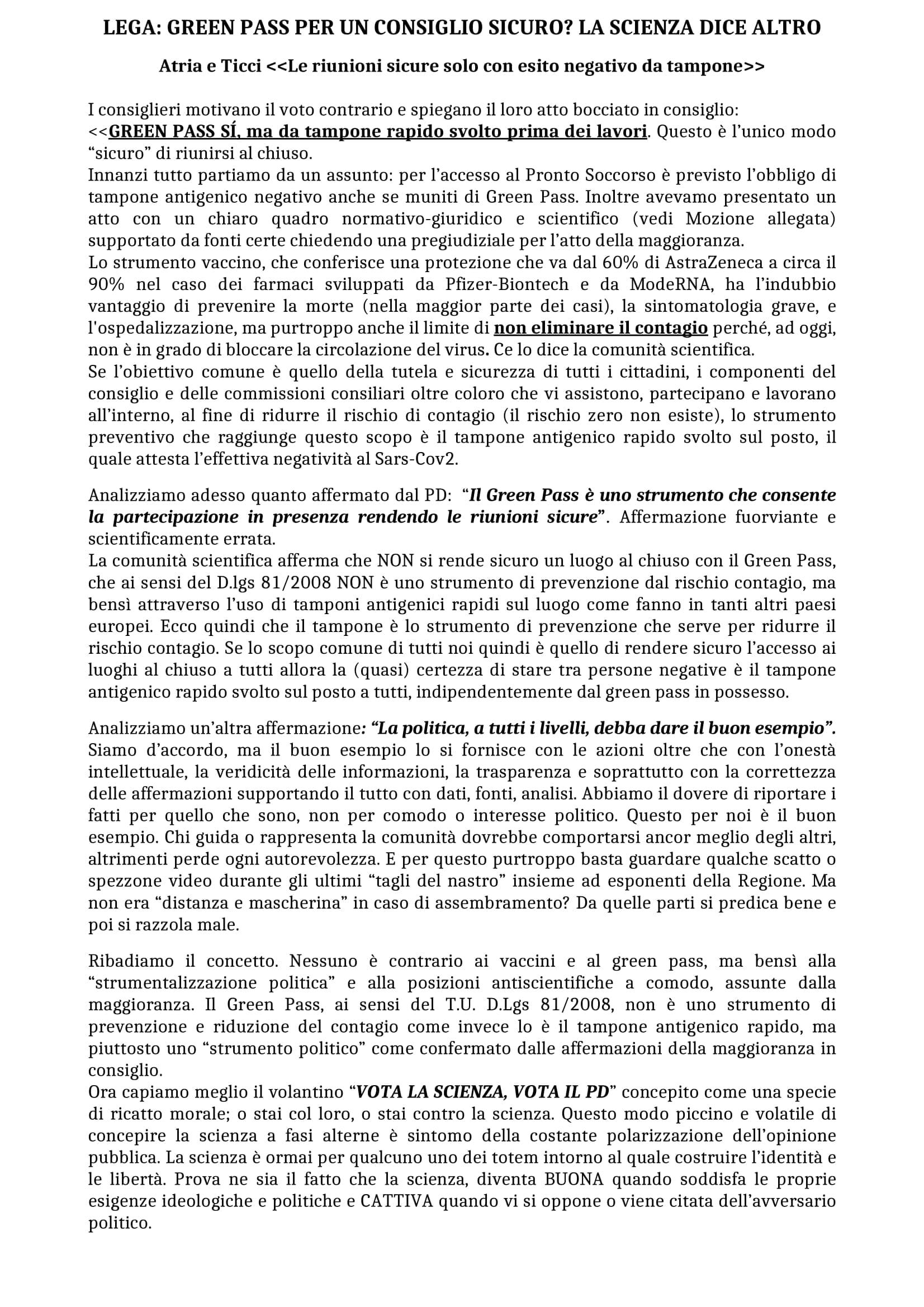 Comunicato Stampa Lega (pag.1)