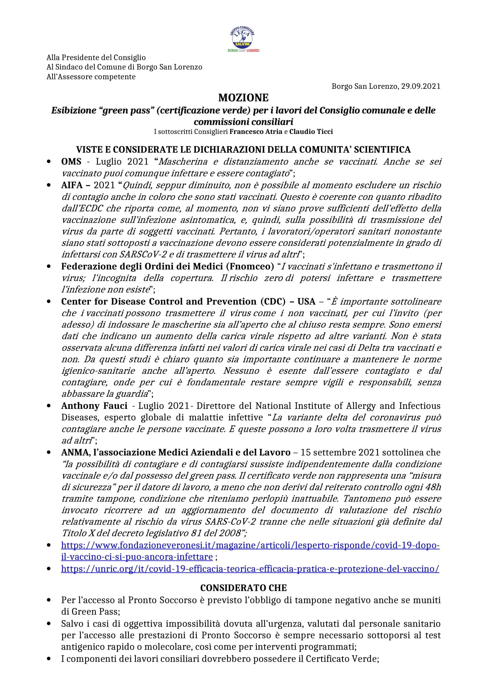 Mozione Atria e Ticci Esibizione Green Pass lavori consiliari sett.2021 (pag. 1)