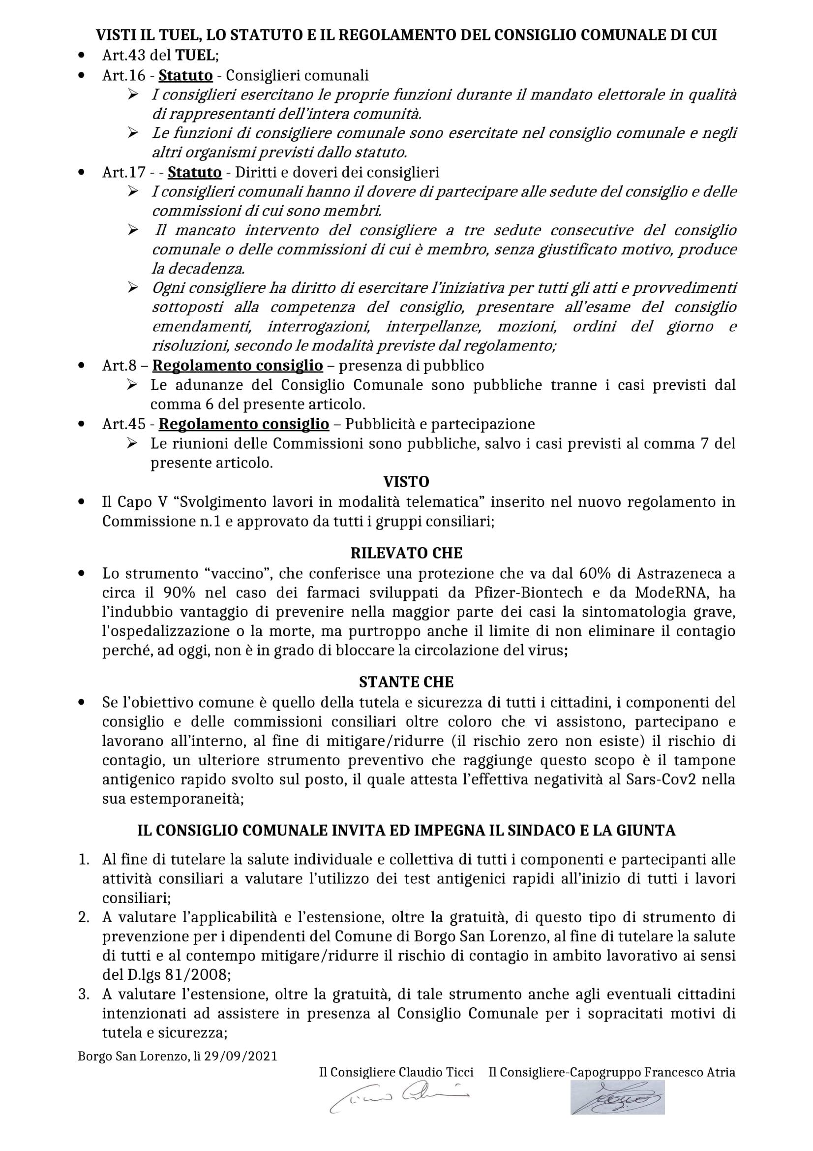 Mozione Atria e Ticci Esibizione Green Pass lavori consiliari sett.2021 (pag. 2)